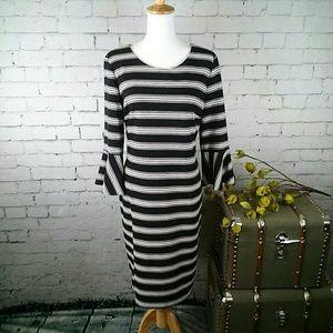 NWT Calvin Klein striped bell sleeved sheath dress
